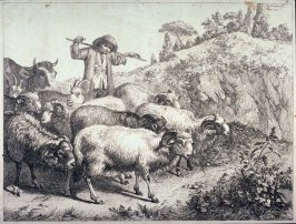 Plate 2 from a set of etchings of Animals and Peasants