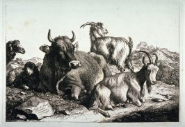 Title plate from a set of etchings of Animals and Peasants