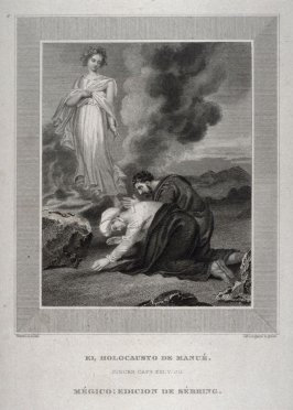 EL HOLOCAUSTO DE MANUÉ (The Sacrifice of Manoah) Judges XIII, 20, from the Sebring edition of the Bible published in Mexico in 1831