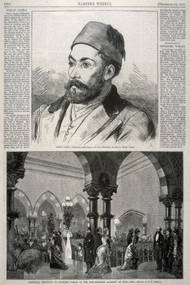 Portrait of Osman Pasha -and- Farewell Reception to Minister Welsh at the Philadelphia Academy of Fine Arts - Two illustration p.1000 Harper's Weekly 22 December 1877