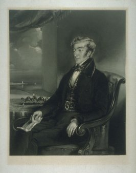 Three-quarter length portrait of seated man, facing left