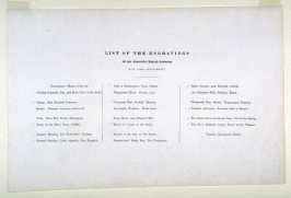 List of the Engravings in the album, Various Subjects of Landscape, Characteristic of English Scenery (London: John Constable, 1830-[1832]