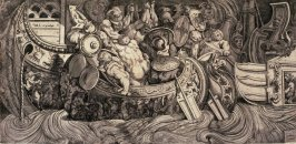 Frieze with a Battle of Antique Ships, after the fresco for the façade of the Palazzo Gaddi, Rome