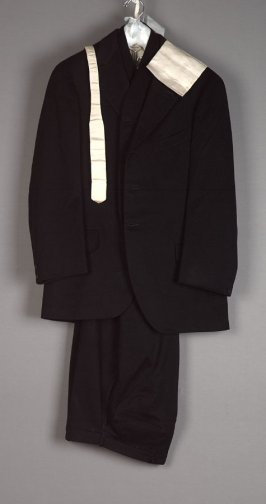 Wedding suit; coat, vest, trousers, tie, and handkerchief