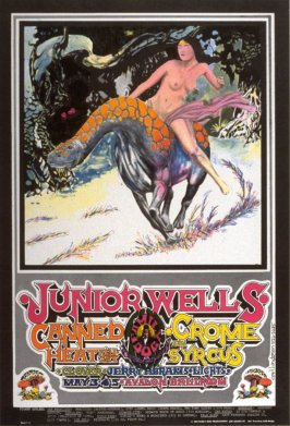 """Giddyap,"" Junior Wells, Canned Heat, Crome Syrcus, Clover, May 3 - 5, Avalon Ballroom"