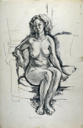 Nude female , seated.