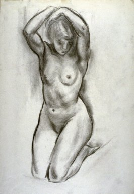 Nude female figure , kneeling , hands above her head.