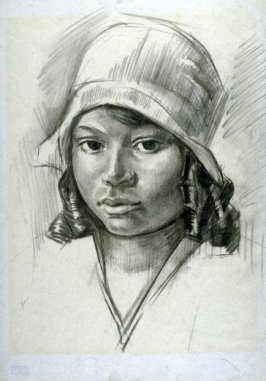 Study of a young girl in a hat.