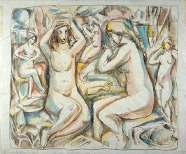 Composition of five nude female figures