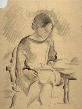 Study - seated woman reading.