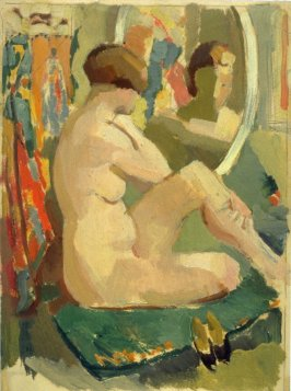 Study : seated nude female at her mirror
