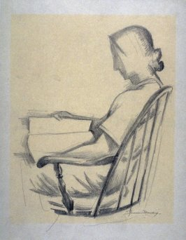 Study : woman in a chair reading