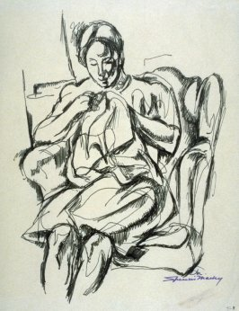 Study : seated woman sewing