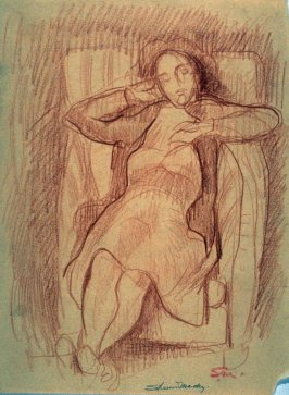 Study : woman dozing in a compfy easy chair