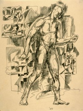 Standing nude male surrounded by miniature abstract studies