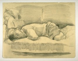 Study of a young boy sleeping on a couch.