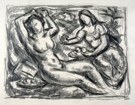 Recto - Study of a reclining nude female with clothed companion offering fruit - Verso - human figure studies
