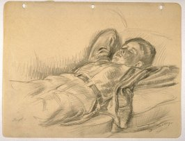 Study ; young boy dozing on a couch