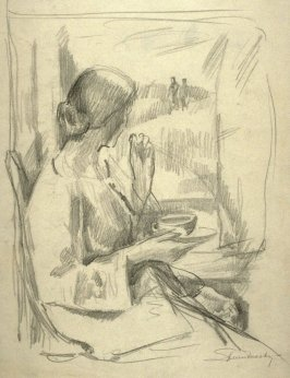 Study ; woman by the window with her morning coffee