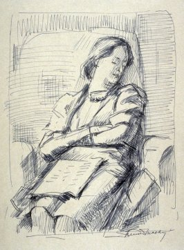 Study : Woman dozing on a couch.