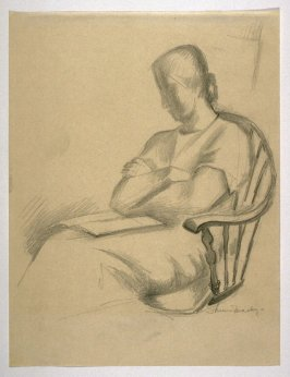 Study : Woman in a chair , reading.