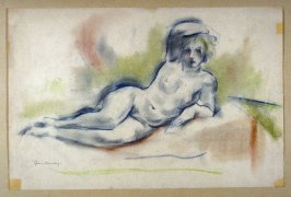 Study, reclining female nude.