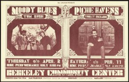 Moody Blues, Tom Rush, April 2, Richie Havens, Turley Richards, April 11, Berkeley Community Theatre