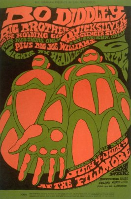 Bo Diddley, Big Brother and the Holding Company, Quicksilver Messenger Service, Big Joe Williams, July 4 - 9, Fillmore Auditorium