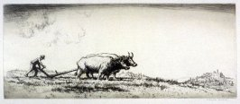 Tuscany (Peasant plowing with oxen)