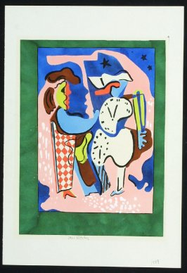 Untitled (Two Cubist Figures with Clocks)