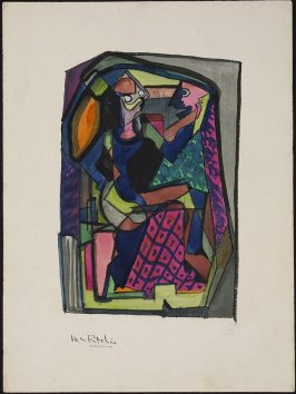 Untitled (Cubist Seated Figure at a Mirror)