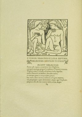 Untitled, pg. 64, in the book Les Éclogues de Virgile by Virgil (translation by Marc Lafargue) (London: Ebery Walker Limited (for Cranach Presse, Weimar), 1926)