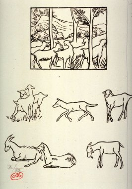 Boucs et chèvres dan les bois (Goats in the woods), illustration from an unknown, posthumous edition of Publius Vergilius Maro: Georgica (The Georgics of Virgil)