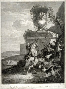 Landscape with boy riding goat, dog barking
