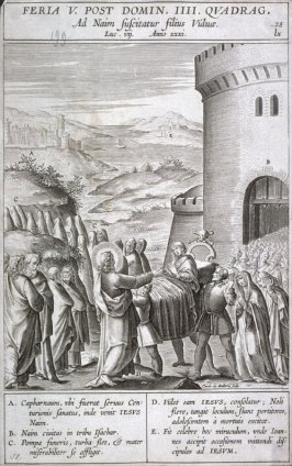 Christ Raising the Son of the Widow of Nain, plate 28 from P. Jeronimo Nadal, Evangelicae Historiea Imagines (Antwerp, 1593)