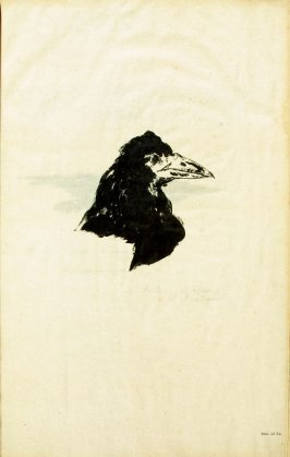 Frontispiece (head of a raven in profile) in the book Le corbeau, translation by Stéphane Mallarmé of Edgar Allan Poe's poem The Raven (Paris, Richard Lesclide, 1875)