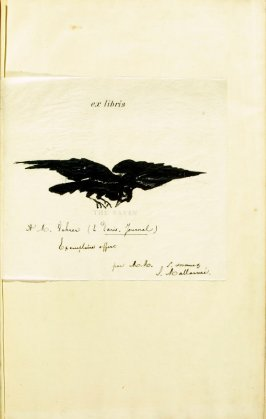 Ex libris in the book Le corbeau, translation by Stéphane Mallarmé of Edgar Allan Poe's poem The Raven (Paris, Richard Lesclide, 1875)