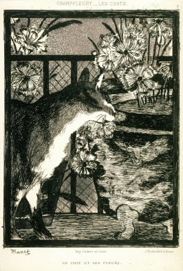 Le chat et les fleurs (Cat and Flowers), from the book Les Chats (The Cats) by Champfleury (Jules Fleury-Husson), 2nd ed. (Paris: J. Rothschild, 1870)