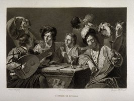Assemblee de Buveurs. (assembly of drinkers) twenty fourth plate in the book... Le Musée royal (Paris: P. Didot, l'ainé, 1818), vol. 2