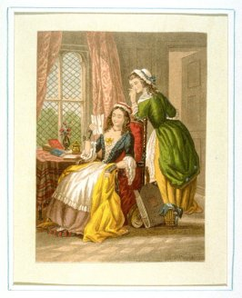 Young woman reading letter, maid watching.