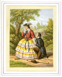 Young woman with suitor kneeling