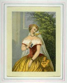 Young woman with bird on shoulder