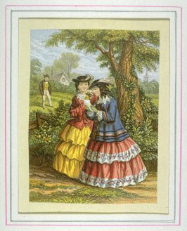 Two ladies in a garden admiring flower
