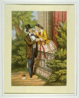 Balcony scene, young couple