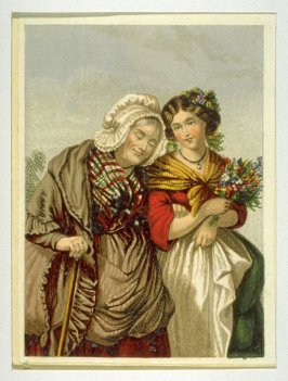 Old woman with young woman walking