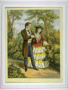 Man and young woman walking on garden path
