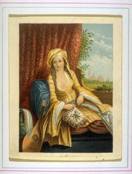 Young woman with lute, reclining