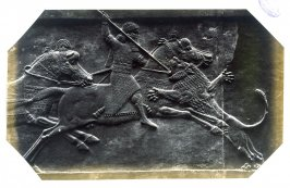 Asshurbanipal on Horseback Spearing a Lion, an Assyrian marble slab from Kouyunjik now in the British Museum