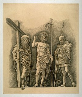 Risen Christ with St. Andrew and St. Longinus by Andrea Mantegna, fifth plate in the book Oeuvre de A. Mantegna, intro. by Georges Duplessis (Paris: Amand-Durand, 1878)