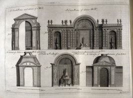 A Small Portico, A large Portico..., Cabinet with Arbor, Niche with a Buffet of Water-work, Salon for Entrance of an Arbor, plate E following page 80 in the book, The Theory and Practice of Gardening by Alexandre Le Blond, 2nd English ed. tr. by John Jame